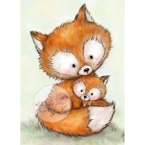 Wild Rose Studio's A7 stamp set Mummy Fox and Baby CL492