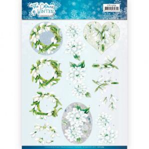3D Knipvel Jeanine's Art - The colours of winter - White winter flowers