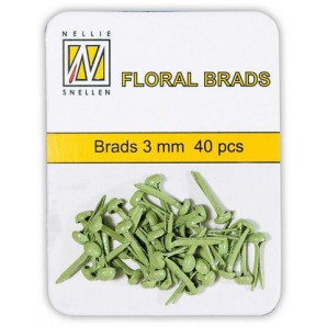 Nellie`s Choice Glitter brads Groen 3mm 40st