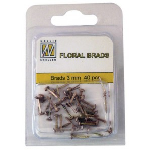 Nellie`s Choice Glitter brads Goud 3mm 40st