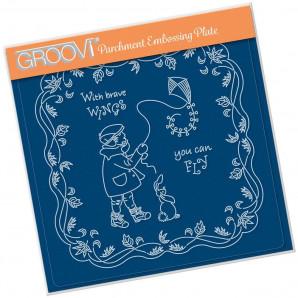 Groovi Plate A5 LINDA'S CHILDREN - AUTUMN - BOY WITH KITE