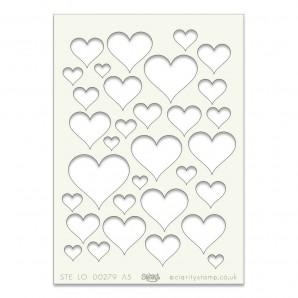 Clarity Art Stencil A5 Hearts