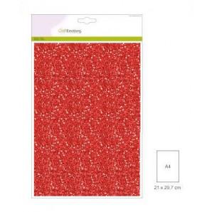 Glitter Papier kerstrood, 5 vel A4