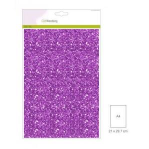 Glitter Papier lila, 5 vel A4