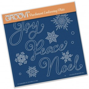 Groovi Plate XMAS WORDS & SMALL SNOWFLAKES