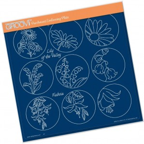 Groovi plate LINDA WILLIAMS 123 FLOWER SAMPLER - DAISY  A, A4 square