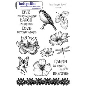 IndigoBlu Stamp Live Laugh Love Mounted A5 Rubber Stamp LLL Mtd