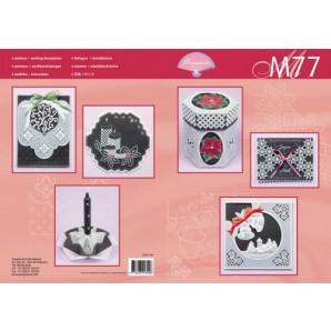 M 77 kerstkaarten vellum zwart