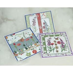 Pakket Kaarten met clear stamps Wild flowers
