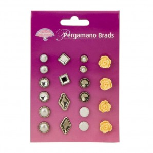 Pergamano Brads Assorted Yellow Roses  20st