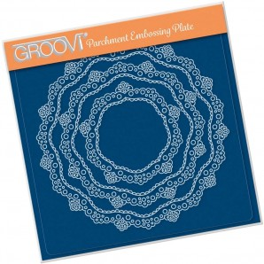 Groovi Plate NESTED LACE DOILY BORDER A5 SQUARE GROOVI PLATE 41428