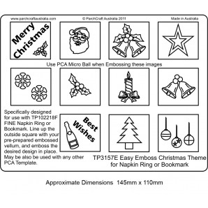 PCA EasyEmbossing Christmas Theme for Napkin Ring or Bookmark TP3157E