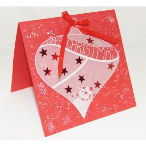 Pakket Kerstkaart met kerstbal van perkamentpapier