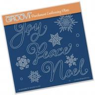 Groovi Plate XMAS WORDS & SMALL SNOWFLAKES