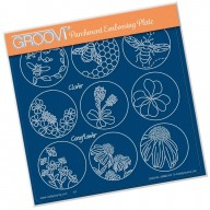 Groovi Plate  Linda's 123 Sampler D: Bumble Bee, Clover & Coneflower A5 Square Plate