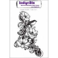 IndigoBlu Stamp Clematis Fourish mounted A6