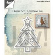 Joy! Die Sketch Art  Christmas Tree