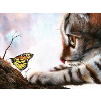 Diamond Painting ronde steentjes poes met vlinder
