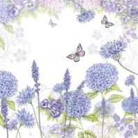 CraftEmotions servetten 5st - Wilde bloemen paars 33x33cm Ambiente 13309310