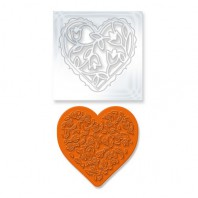 Tonic Studios Die & Stamp set - Rococo floral heart 1045E