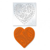 Tonic Studios Die & Stamp set - Rococo paisley heart 1046E