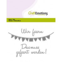 CraftEmotions Die Text - Wir feiern (DE) Card 11x9cm (09-16)