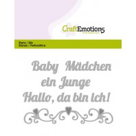 CraftEmotions Die Text - Baby Hallo, da bin ich! (DE) Card 11x9cm (09-16)