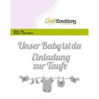 CraftEmotions Die Text - Unser Baby ist da (DE) Card 11x9cm (09-16)