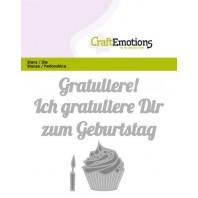 CraftEmotions Die Text - Gratuliere zum Geburtstag (DE) Card 11x9cm (09-16)
