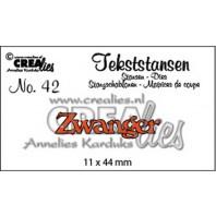 Crealies Tekststans no 42 Zwanger (NL) 11 x 44 mm / CLTS42
