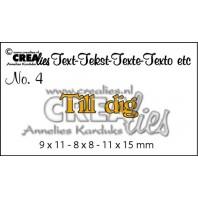 Crealies Tekststans (SW) nr 04  Till dig 9x11-8x8-11x15mm  / CLSE04