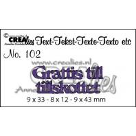 Crealies Tekststans (SW) nr 102  Grattis till tillskottet 9x33-8x12-9x43mm  / CLSE102