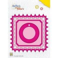 Nellies Choice Multi Frame Die  - vierkant+label kerst ster MFD099  11.9x11.9cm (09-16)