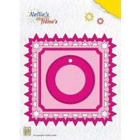 Nellies Choice Multi Frame Die  - vierkant+label kerst ster MFD099  11.9x11.9cm (09-16)
