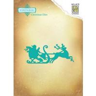 Nellie's Choice Vintasia Christmas Die - Kerstman op slee VIND046 9,3x3,7cm (10-16)