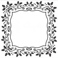 Nellie's Choice Emb.folder Kerst vierkant frame van hulst EFE025 (08-16)