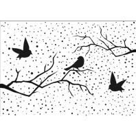 Nellie's Choice Emb.folder Kerst tafereel met vogels EFE027 (08-16)