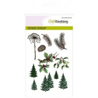 CraftEmotions clearstamps A6 - kerst bomen, takken Christmas Nature (07-16)