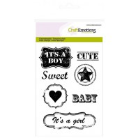 CraftEmotions clearstamps A6 - vintage baby tekst labels (ENG) Lovely Baby (09-16)