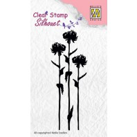 Nellie's Choice Clearstamp - flower 7 SIL004