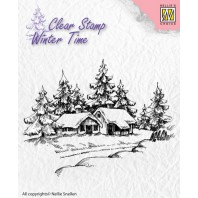 Nellie's Choice Clearstamp - Winter Time Winter huis WT002 (08-16)