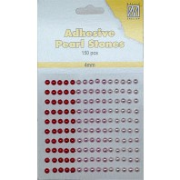 Plakparels / Adhesive gems rood roze 4 mm