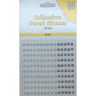 Plakparels / Adhesive gems wit ivoor 4 mm