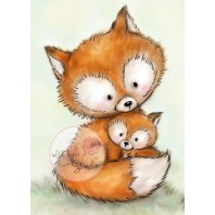 Wild Rose Studio's A7 stamp set Mummy Fox and Baby CL492