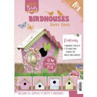 Boek met alle materialen en accessoires om zelf 4 kartonnen vogelhuisjes te maken