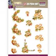 3D Push Out - Precious Marieke - Romantic Roses - Orange Rose 10516