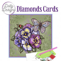 Dotty Designs Diamond Cards - Purple Flowers