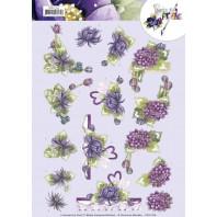 3D Knipvel - Precious Marieke - Purple Dahlias 11315