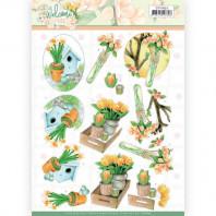 3D Knipvel - Jeanine's Art Welcome Spring - Orange Tulips 11632