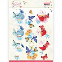 3D Knipvel - Jeanine's Art - Butterfly Touch - Blue Butterfly 11659